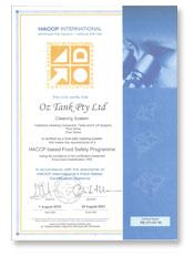 oztank HACCP document image